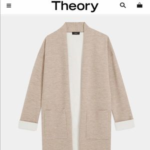 Theory Open Front Cardigan In Double Face Wool